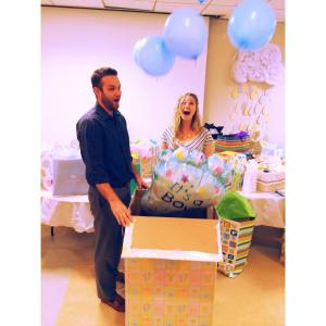 """Cheyne and I reveal the gender of our baby.  I may look surprised, but I already knew. It's called """"acting."""""""