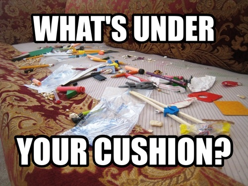 under your cushion