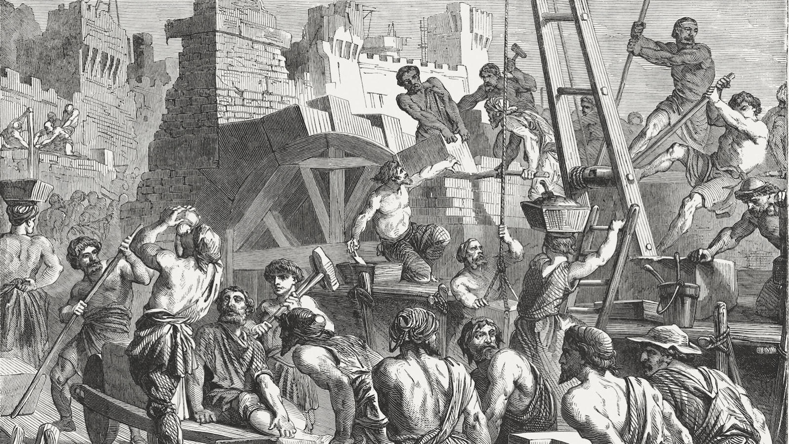 Rebuilding the Wall of Jerusalem (Nehemiah 3-4), published in 1886